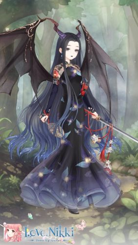 Screen shot from the game Love Nikki, showing a pretty gothic outfit