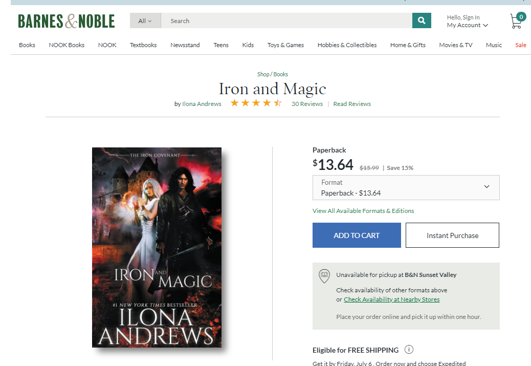 Link to Iron and Magic Paperback copy on BN