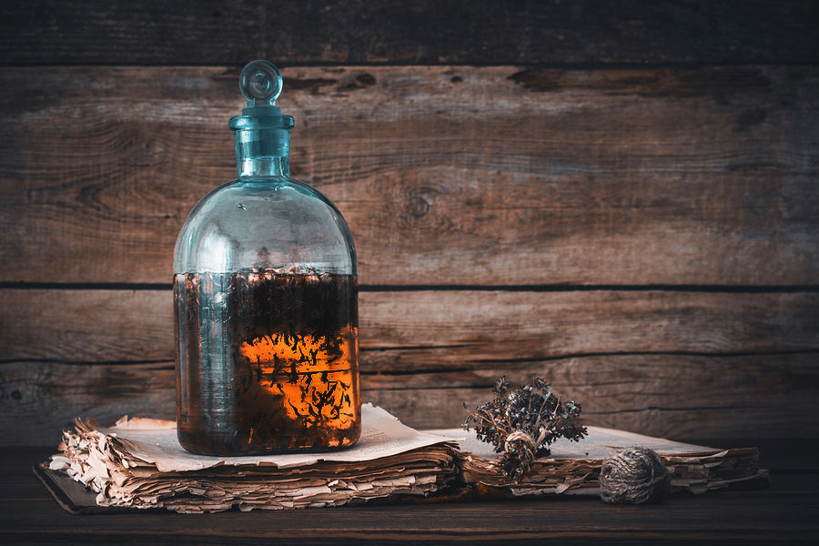 Potion bottle with orange liquid