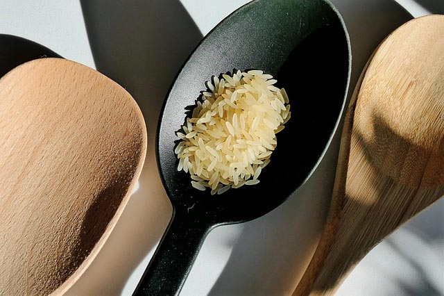 Rice in a spoon