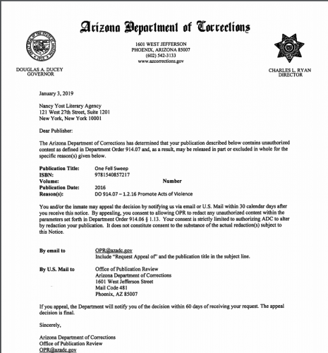 Letter from Arizona Department of Corrections