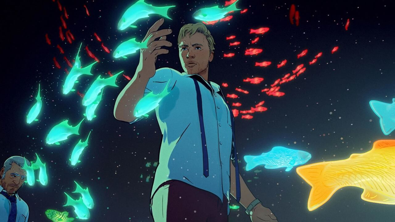 Screen shot from the animated show showing two men and glowing fish