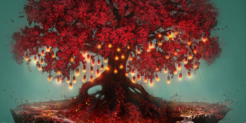 Vala tree with red leaves and branches